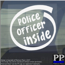 1 x Police Officer Inside-Window,Car,Van,Sticker,Sign,Vehicle,Adhesive,Law,Aid